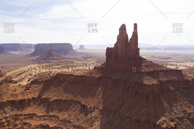 Aerial Panoramas of Desert Landscape of Iconic Monument Valley
