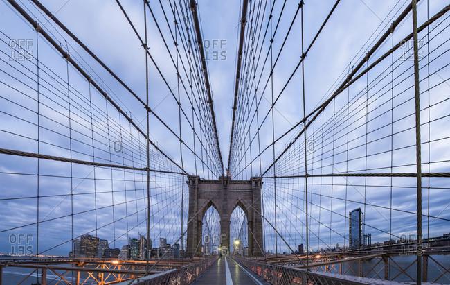 Webbing of the Brooklyn Bridge at Dawn NYC