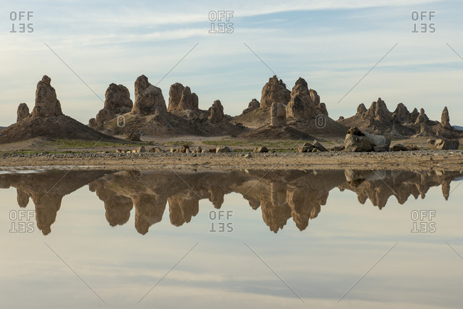 Trona Pillars Reflected in Pond