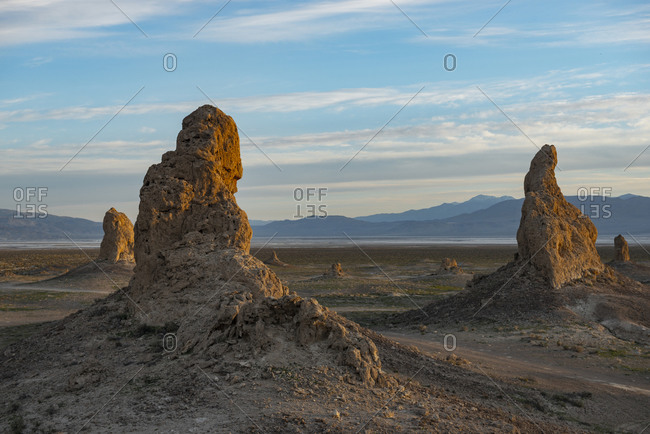 Trona Pillars During Sunrise against blue sky