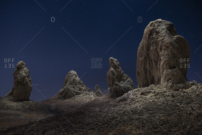The Pillars of Trona Illuminated from Above on a Starry Night in