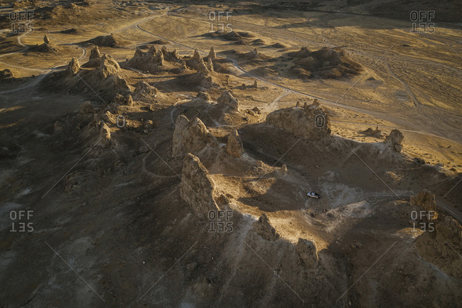 Trona Pillars Casting Long Shadows from Above