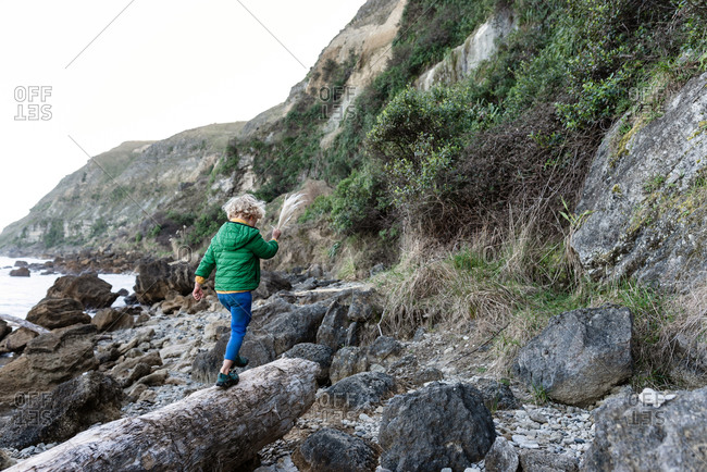 Small child walking on log near ocean in New Zealand
