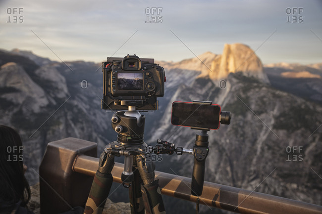 Filming and photographing half dome from glacier point