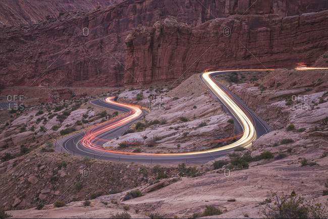 Car trails on the roads of Arches National Park