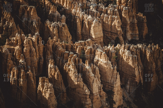 Detail of Bryce Canyon from Bryce Point at sunset