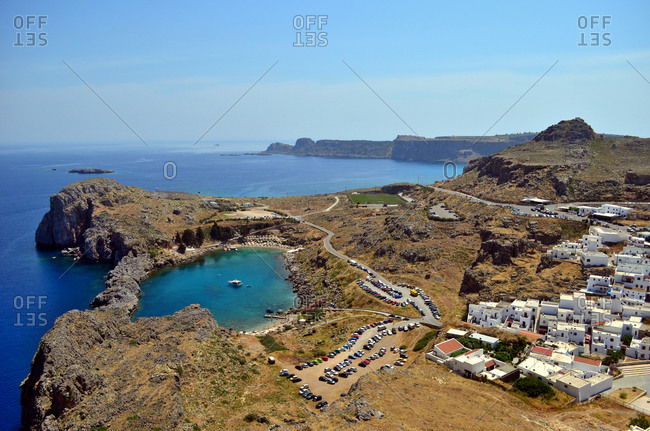 Heart-like laguna with the Lindos town on Rhodes island