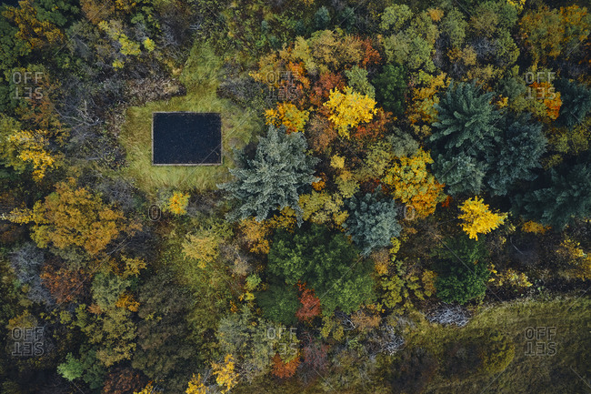 Old cabin foundation in autumn forest