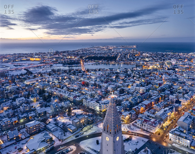 Majestic drone view of Reykjavik city center in twilight