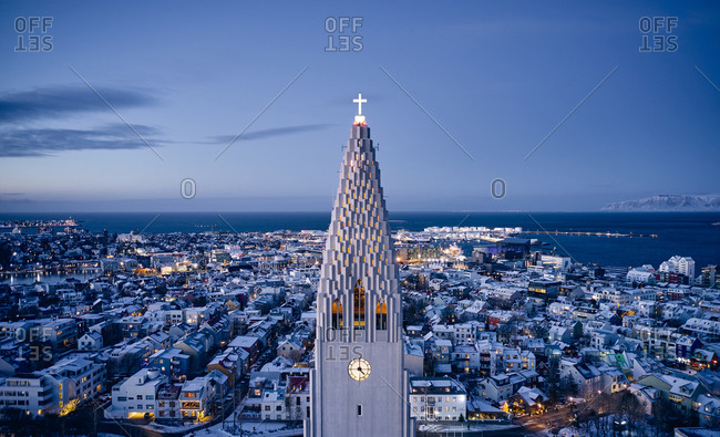 Architectural monument of church in illuminated city at night