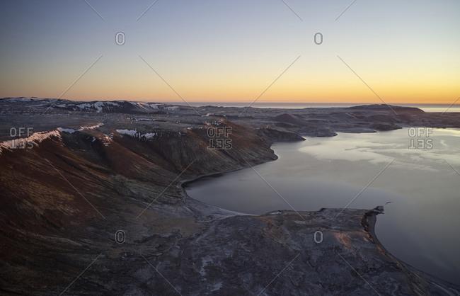 Amazing sunset landscape over rocky coast