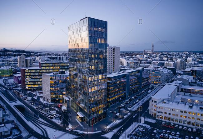 Reykjavik, Iceland - December 6, 2019: Winter cityscape with modern architecture