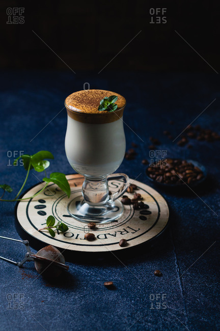 Healthier Korean coffee (Dalgona) with mint and coconut sugar