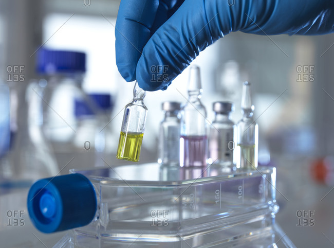 Hand of person wearing protective glove picking up pharmaceutical vial in laboratory