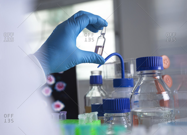 Pharmaceutical research into infectious disease and pandemics- scientist developing a drug for a clinical trial in the laboratory