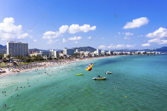 August 23, 2019: Spain- Balearic Islands- Cala Bona- Aerial view of coastline of resort town in summer