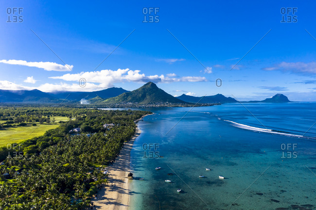 Mauritius- Black River- Flic-en-Flac- Aerial view of palm trees along coastal beach in summer with Tourelle du Tamarin mountain in distant background