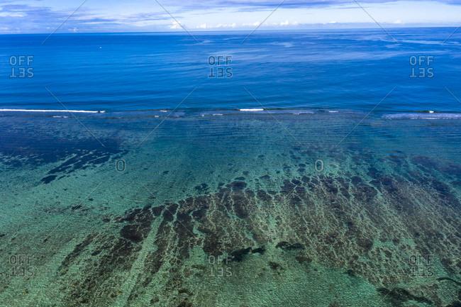 Mauritius- Black River- Flic-en-Flac- Aerial view of Indian Ocean reef in summer