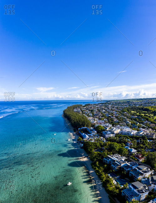 Mauritius- Black River- Flic-en-Flac- Aerial view of blue summer sky over coastal town