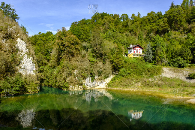 France- Pyrenees-Atlantiques- Sainte-Engrace- Lake and secluded house in Les Gorges de Kakuetta nature reserve