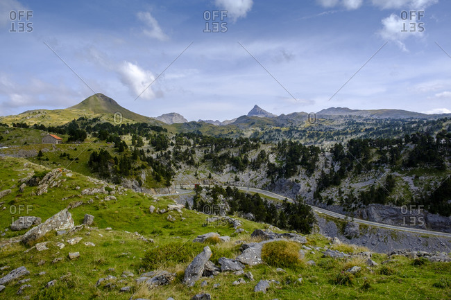 France- Pyrenees-Atlantiques- Scenic view of Col de la Pierre Saint-Martin mountain pass in summer
