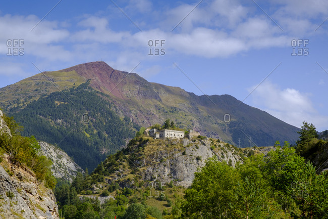 Spain- Province of Huesca- Canfranc- Scenic view of Fuerte de Coll de Ladrones and surrounding mountains