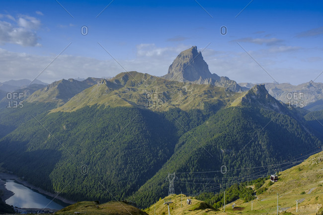 France- Pyrenees-Atlantiques- Laruns- Scenic view of Pic du Midi dOssau and Ossau Valley