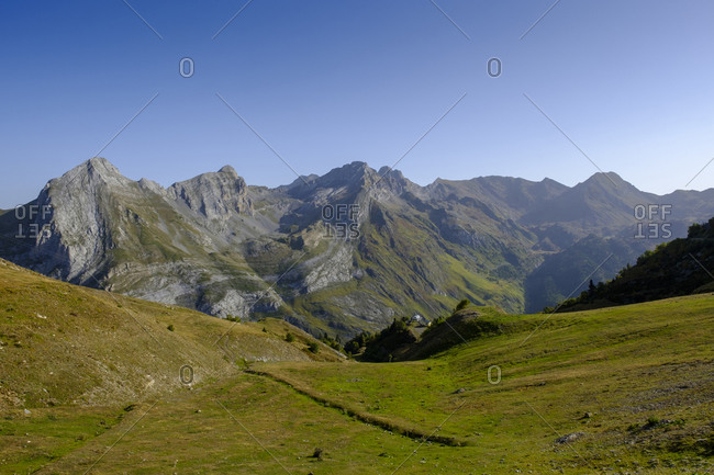 France- Pyrenees-Atlantiques- Laruns- Scenic view Ossau Valley in summer