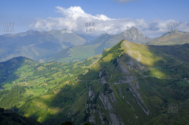 France- Hautes-Pyrenees- Scenic mountain landscape between Col du Soulor and Col dAubisque mountain passes