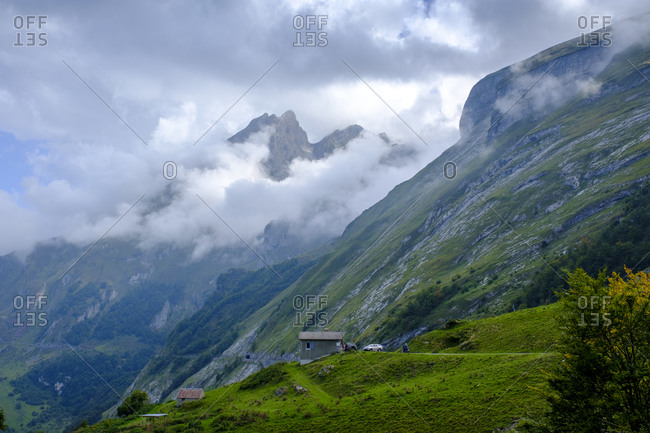 France- Hautes-Pyrenees- Scenic view of clouds over Pic de Gabizos