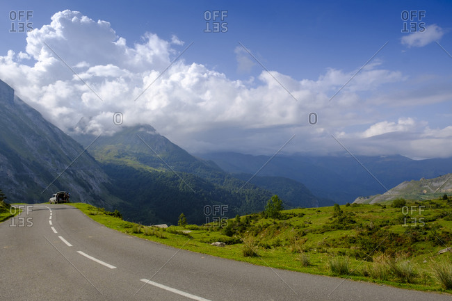 France- Hautes-Pyrenees- Empty highway in Col dAubisque mountain pass