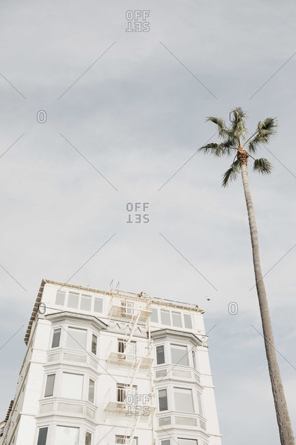 White house and palm against cloudy sky- Venice Beach- Los Angeles- USA