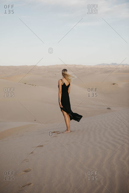 Back view of blond woman standing on sand dune- Algodones Dunes- Brawley- USA