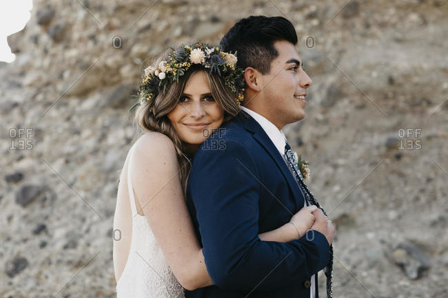 Happy bridal couple at the beach