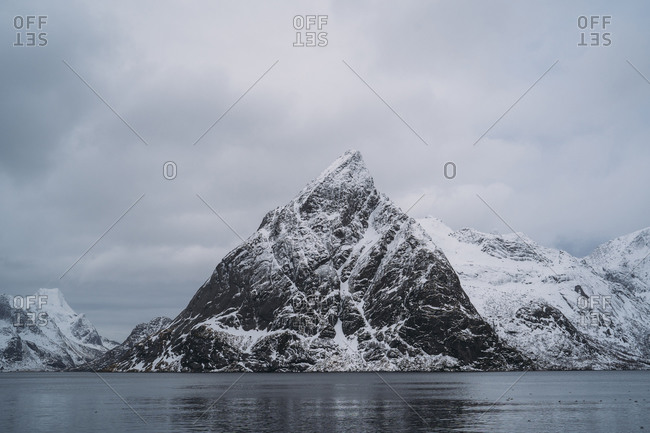 Coastal landscape with mountain- Lofoten- Norway