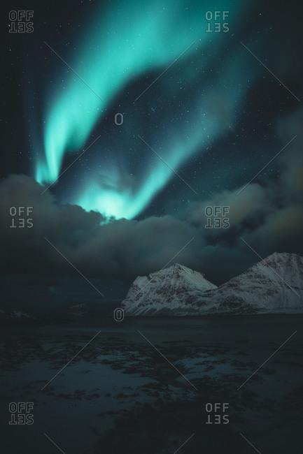 Northern lights at night- Lofoten- Norway