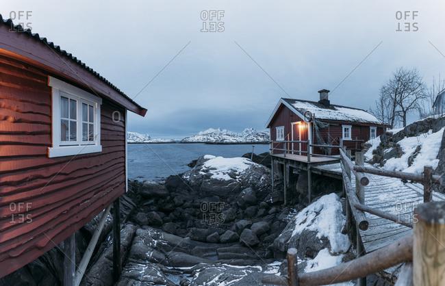 Fishing huts at the coast- Lofoten- Norway