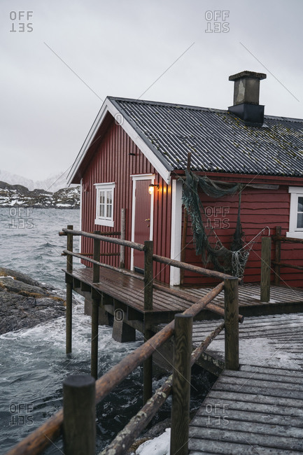 Fishing hut at the coast- Lofoten- Norway