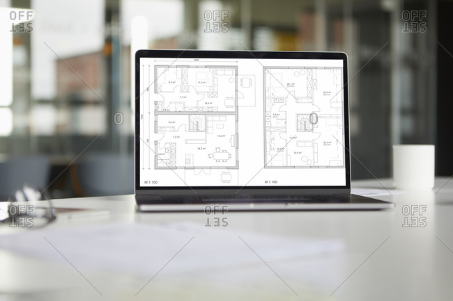 Tablet with floor plan in office