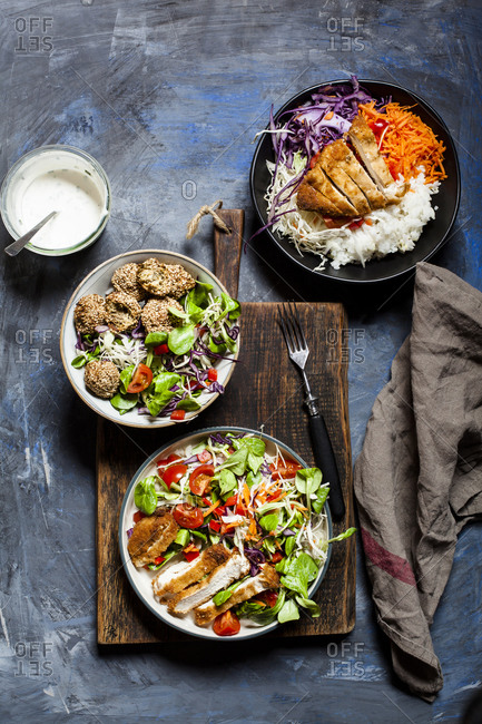 Bowls with three different ready-to-eat salads