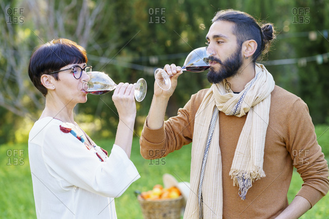 Friends drinking red wine on their getaway in the countryside