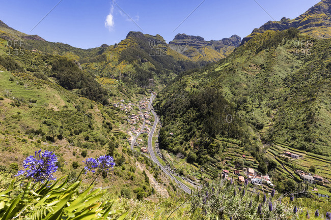 Portugal- Madeira- Serra de Agua- High angle view of village in green mountain valley