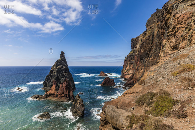 Portugal- Madeira- Coastal stack rock and cliffs of Ponta de Sao Lourenco