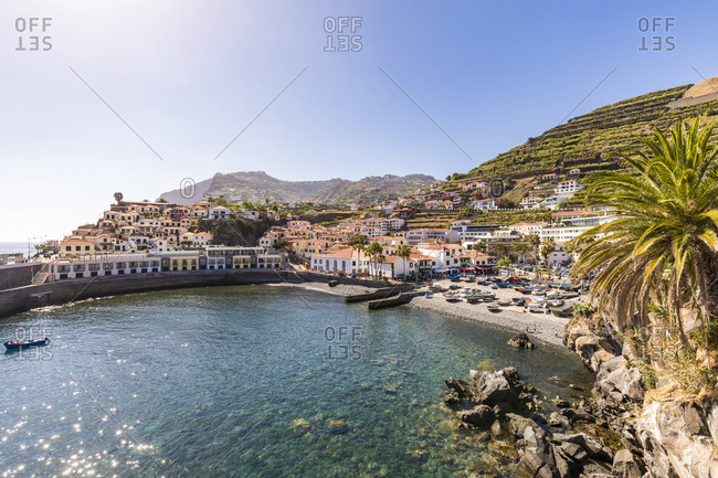 May 25, 2019: Portugal- Madeira- Camara de Lobos- Clear sky over coastal town in summer