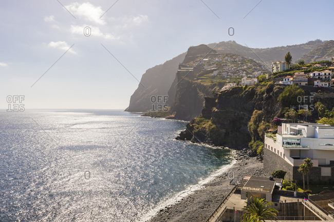 May 25, 2019: Portugal- Madeira- Camara de Lobos- Atlantic Ocean and cliffs of coastal town