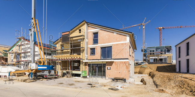 Germany- Baden-Wurttemberg- Waiblingen- Construction site of modern house