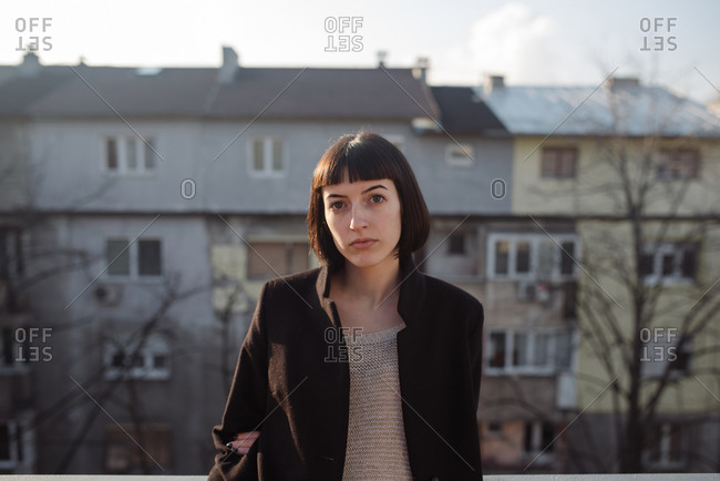 Outdoor portrait of a young girl, generation z