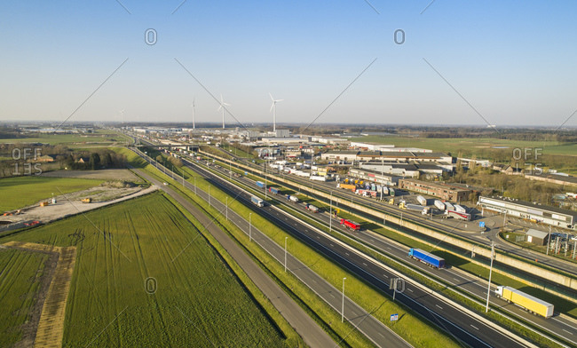 Netherlands - March 26, 2020: Aerial view of a motorway, a border point with traffic queuing to cross the Dutch Belgian border.