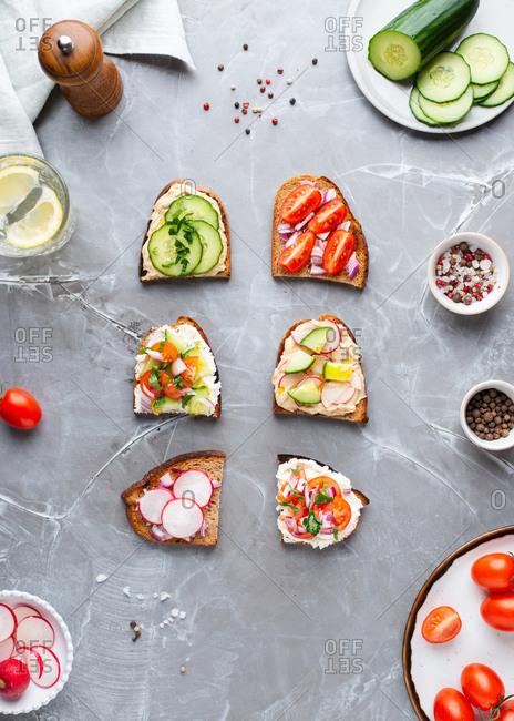 Overhead view of vegetarian open face sandwiches assortments