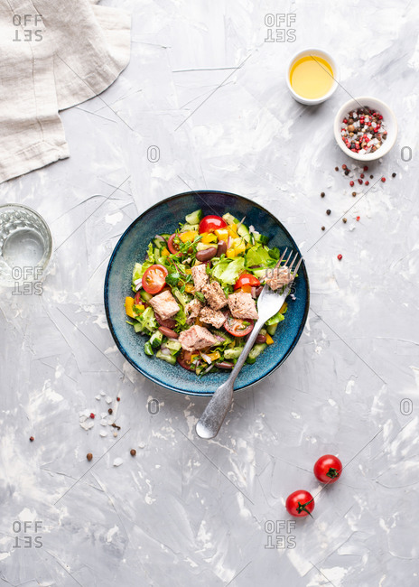 Overhead view of blue ceramic bowl with tuna salad. Tuna salad with fresh cherry tomatoes, beans, lettuce, red onion and cucumber